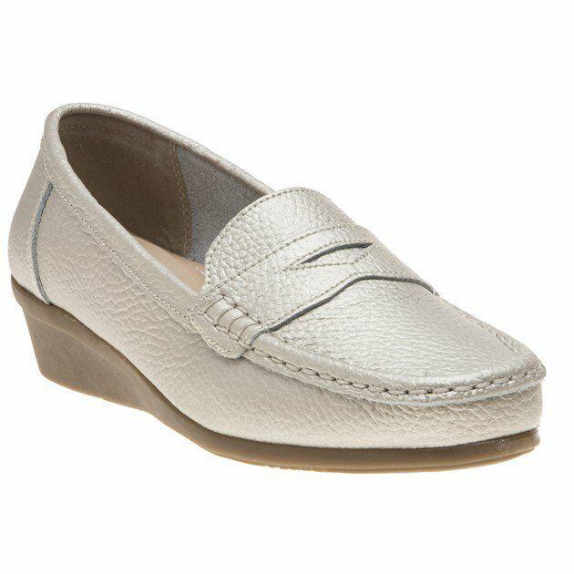 New Womens SOLESISTER gold Metallic Sandra Leather shoes Flats Slip On