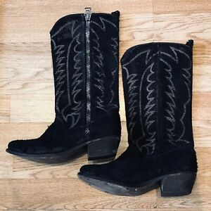 first look best value order Details about ALL SAINTS Ranch Black Suede Leather Western Cowboy Boots -  UK 4/EU 37 - Ladies