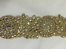 ATTRACTIVE ETHNIC INDIAN GOLD CIRCLES & FLORAL MIRRORS CRYSTALS LACE/TRIM -1 MTR