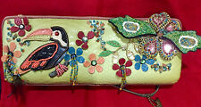 Mary Frances Parrot Multicolor BeadsFeathersLeather ShortStrap Clutch Bag RARE!