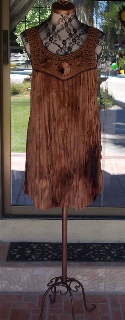 Pretty Angel Cascading Ruffles Macrame Bodice Lined Tunic Dress Sz. S, M, L