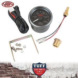 SAAS-Oil-Temp-Gauge-Black-Face-Dial-52mm-Multi-Colour-Sender-amp-Fitting-Kit-New