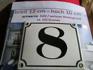 Hausnummer Emaille Nr. 8 schwarze Zahl auf weißem Hintergrund 12 cm x 10 cm