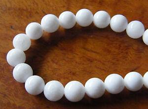 50pcs-8mm-Round-Gemstone-Beads-Malaysian-Jade-Opaque-White