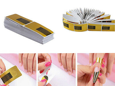 100 Golden Nail Art Tips Extension Forms Guide French DIY Tool Acrylic UV Gel