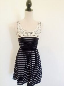 Primark-Atmosphere-Blue-Stripe-Nautical-Dress-with-Lace-Detailing-Size-8