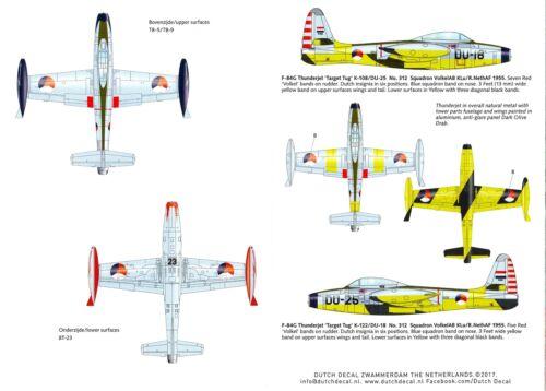 Dutch Decals 1//72 REPUBLIC F-84 THUNDERJET Dutch Air Force Service