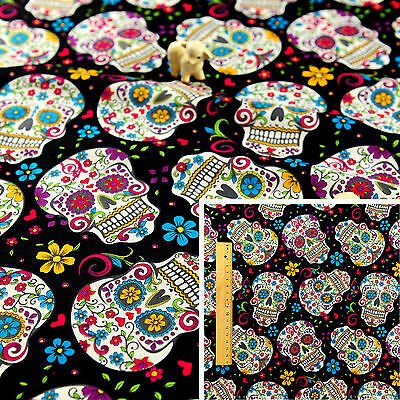 BLACK Fat Quarter/Meter FQ 100% Cotton Fabric Sewing Halloween Folkloric Skulls