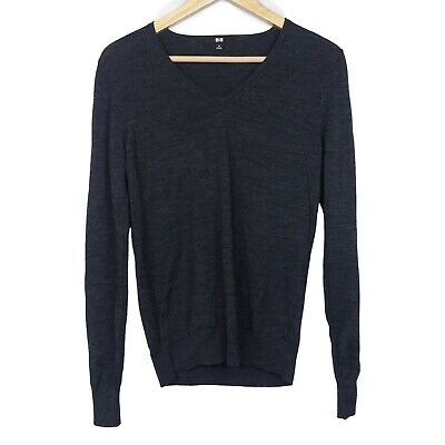 Uniqlo Women's Extra Fine Merino Wool Dark Gray V Neck Pullover Sweater, Size M | eBay