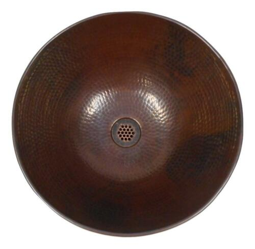 """Round 14/"""" Hand Forged Copper Vessel Bath Sink with 19-Hole Grid Drain Included"""