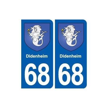 68 Didenheim blason autocollant plaque stickers ville -  Angles : arrondis