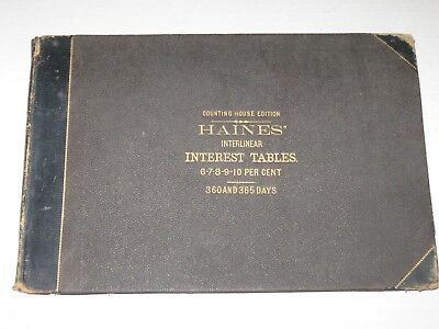 Friendly Old 1874 R.c Etc Haines' Interlinear Interest Tables Book Dates Percentages
