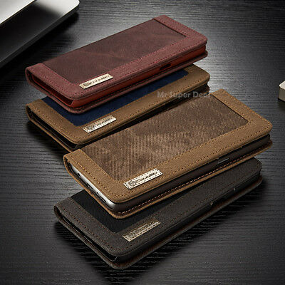 Für Samsung Galaxy S8+ Jeans Style Leder Synthetisch Tasche Flip Case Cover Neu