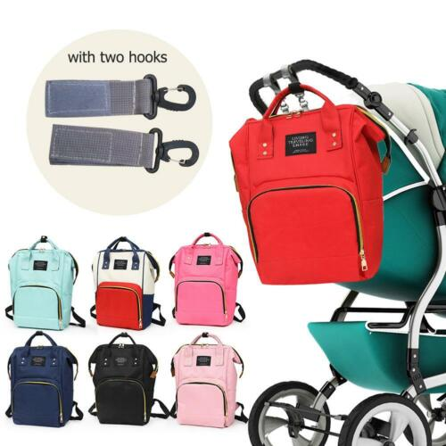 2 Hook Baby Diaper Nappy Mummy Changing Bag Backpack Set Multi-Function Bags *DC