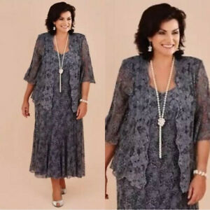 Details about Gray Lace Mother Of the Bride Dresses With Jackets Plus Size  Formal Dress