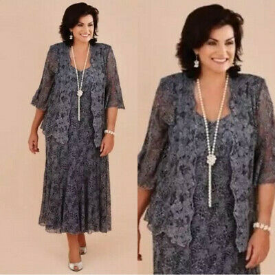 Gray Lace Mother Of the Bride Dresses With Jackets Plus Size Formal Dress |  eBay