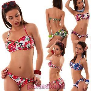 Bikini donna costume da bagno fascia floreale fiori due pezzi mare ...