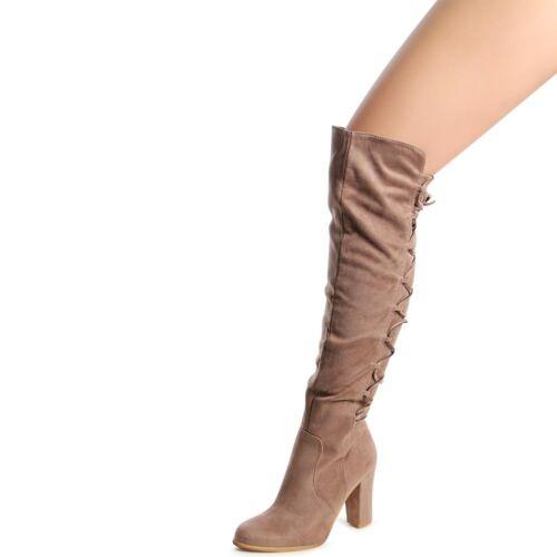 Damen Stiefel Overknee Blockabsatz Schnürung