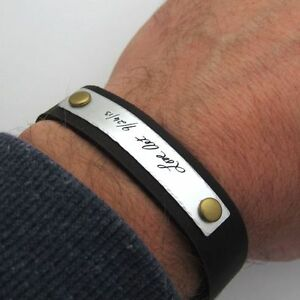 2047a697ce3ab2 Image is loading Custom-Signature-Bracelet-for-men-Mens-Personalized-Leather -