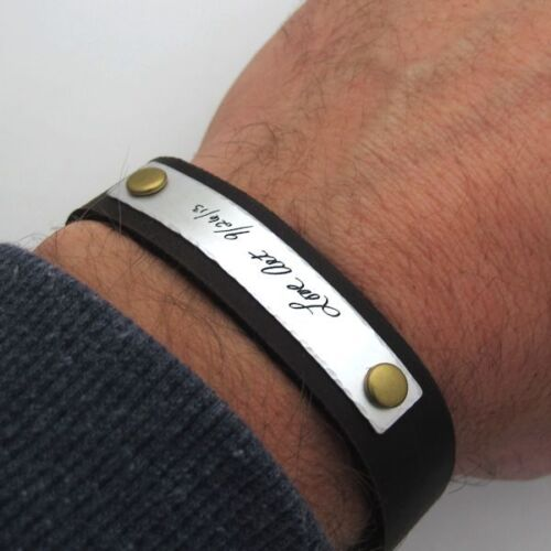 Custom Handwriting Bracelet - Personalized Leather Cuff ...