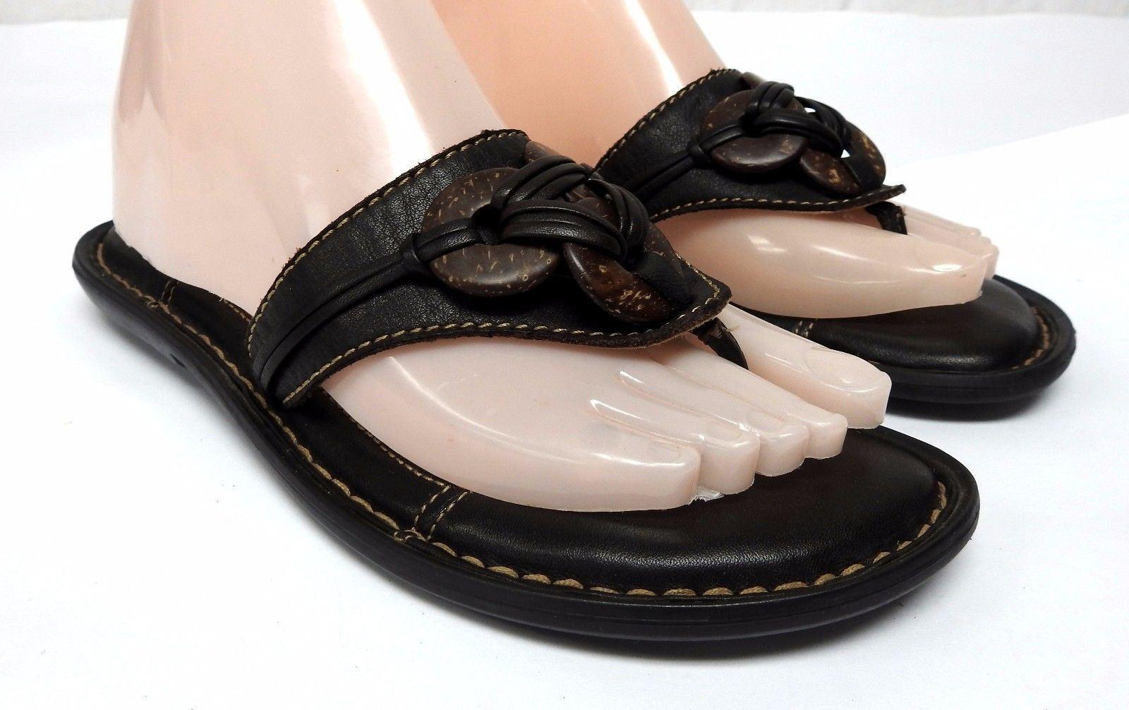 Born leather women's 7 M black leather Born sandals flip flops 1b723b
