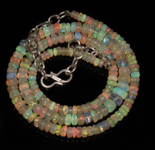 """52 Ctw 1Necklace 3to6 mm16/"""" Beads Natural Genuine Ethiopian Welo Fire Opal*B5045"""