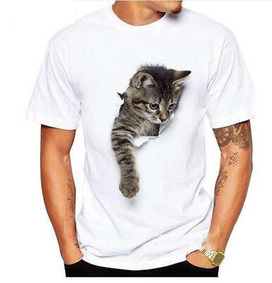 Women Men Christmas Santa Claus Cat Funny Print 3D T-Shirt Casual Short Tops Tee