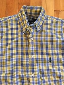 a4111fb11 Vintage RALPH LAUREN POLO Boys Size 6 Yellow & Blue Plaid Button ...