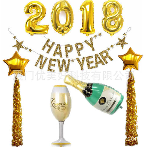 5Set Foil Balloon 2018 Happy New Year Mylar Balloons /& Star Beer Bottle Cup DIY