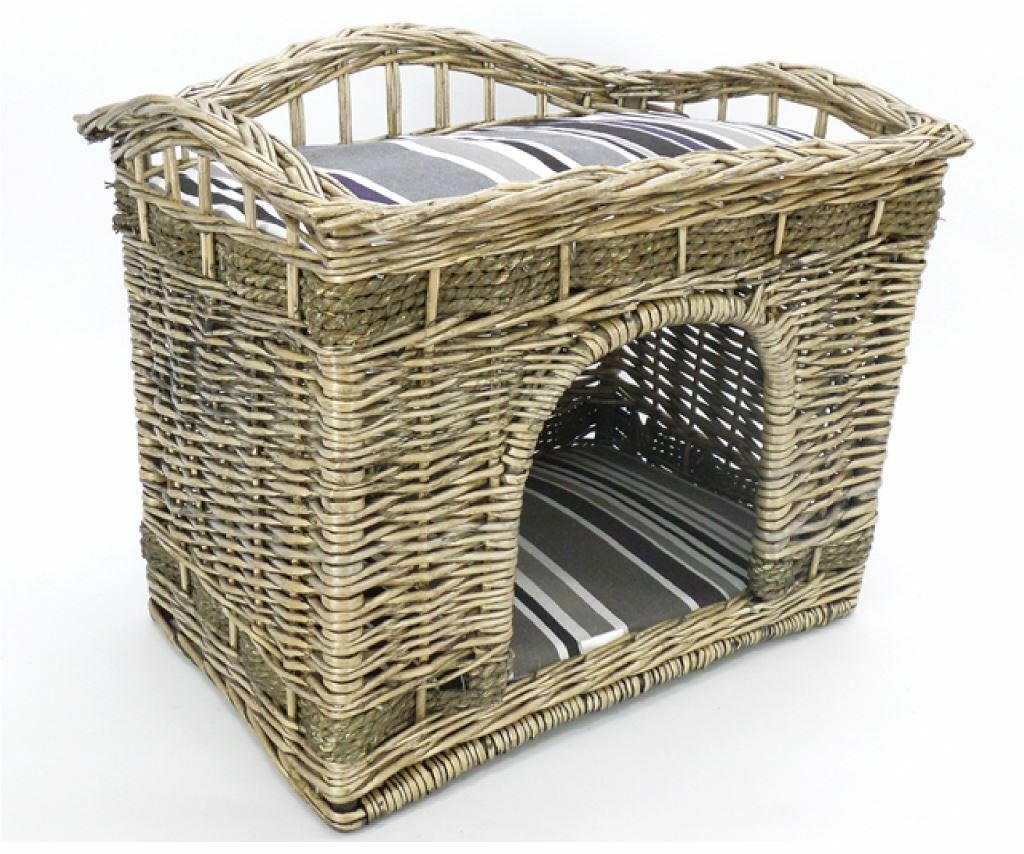 Cuccia lettiera vimini casa cane cane cane gatto cucciolo cucciolata tetto morbido cuscino 9f2561