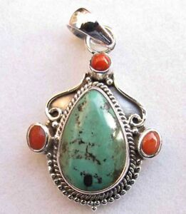 21-10-Ct-Turquoise-Coral-925-Sterling-Silver-Pendant-Necklace