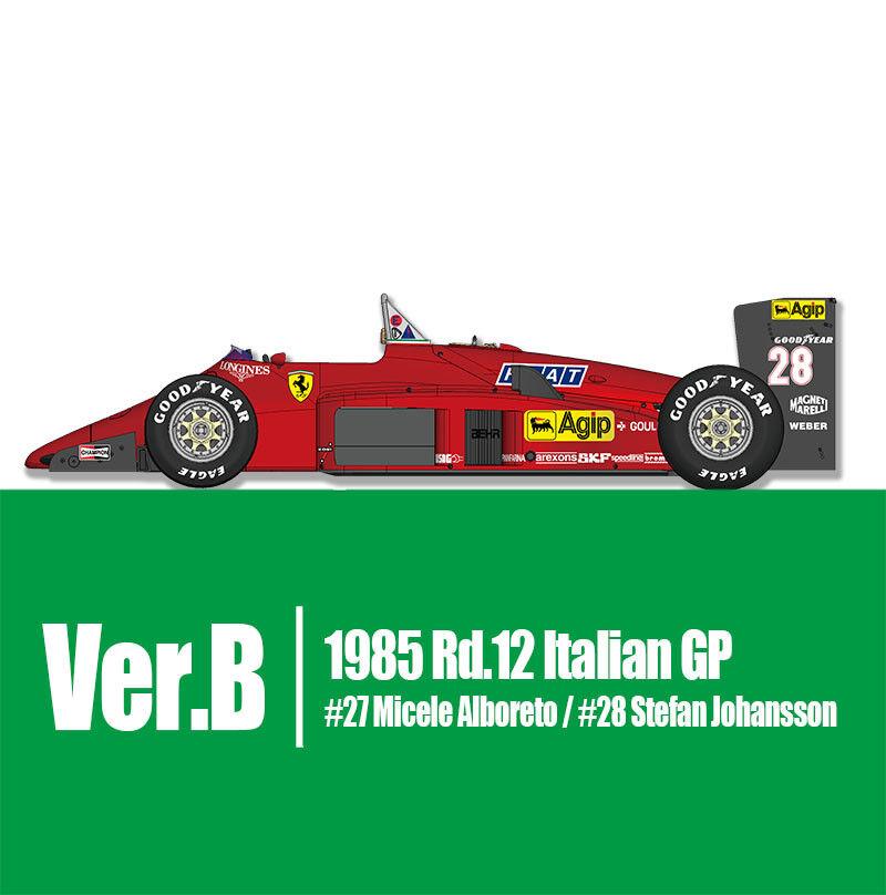 Modell - fabrik hiro k593 13.12 uhr  kamelhaar ferrari - 156   85 ver b 1985 rd.12 italienischen gp   27   28.