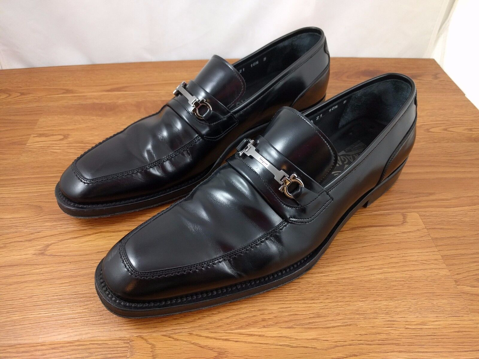 Salvatore Ferragamo Black Bit Mens shoes Loafer Loafer Loafer Leather Drivers Sz 10 1 2 B  238abc