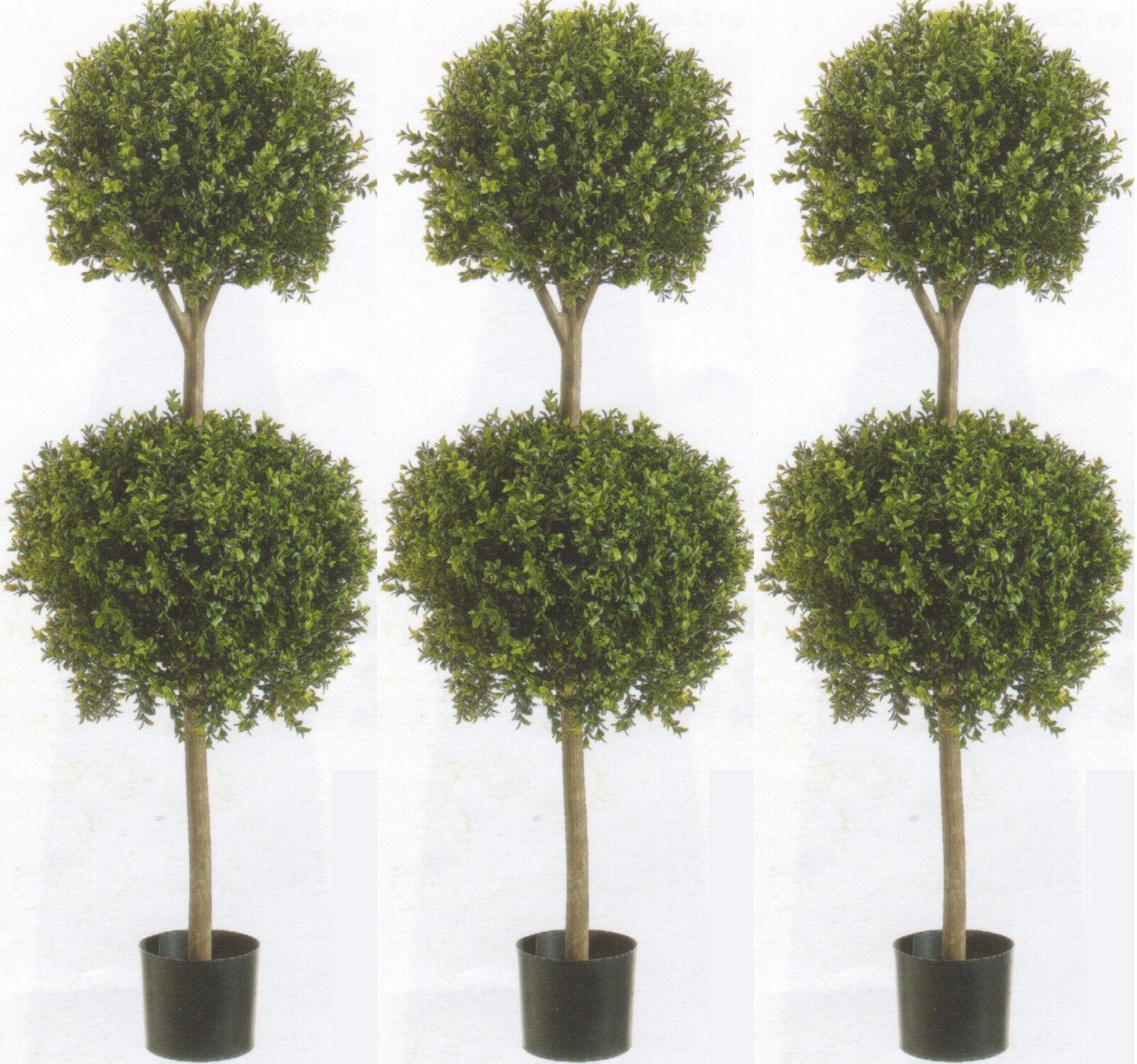 3 Artifiical 56  Boxwood 2 Ball Topiary Tree Plant Outdoor Bush Patio Pool 4' 8