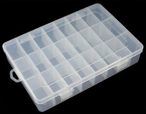 24 Compartment Organiser Box size approx 19.6cm long, 13.3cm wide, 3.7cm high