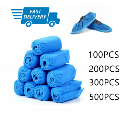 100 Disposable Blue Plastic Over Shoes Heavy Duty ReUsable Overshoes Shoe Covers
