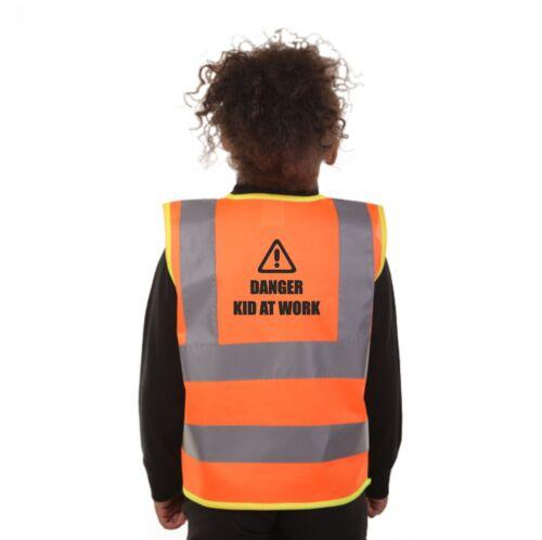 PREMIUM KIDS DANGER KID AT WORK HI VIS VIZ VEST WAISTCOAT JACKET  3 COLOURS