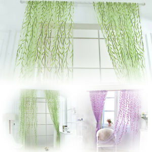 Wicker-Window-Curtain-Tulle-Voile-Drape-Panel-Sheer-Scarf-Valances-H-amp-T