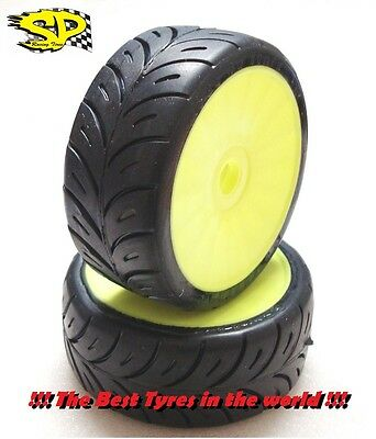 "SP Tire Gomme 1//8 GT Old Production glued on BLACK rims /""R2/"" 2 pairs=4 tires"