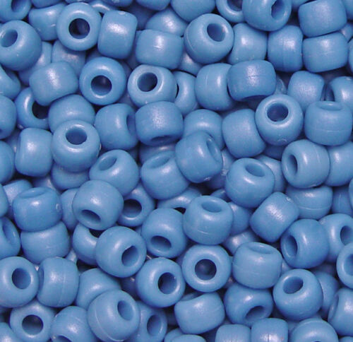 Flat Denim 9x6mm Pony Beads made in USA 500pc for school kids VBS crafts jewelry