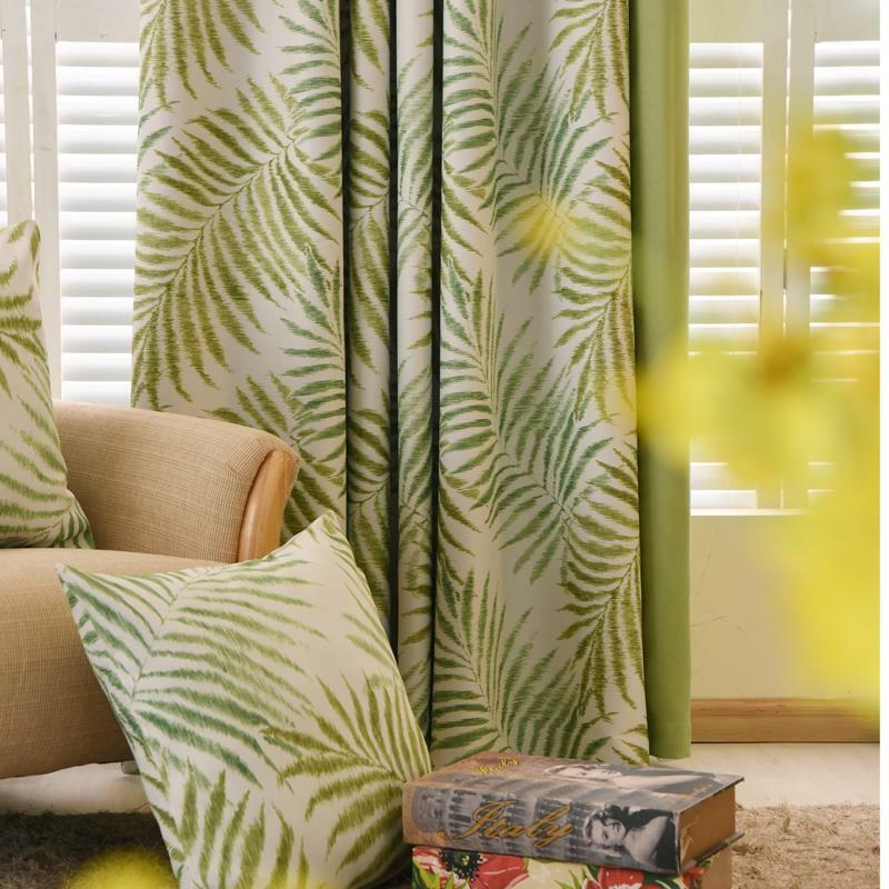 Curtains Window Treatment Modern Woven Tropical Pattern High Quality Room Decors