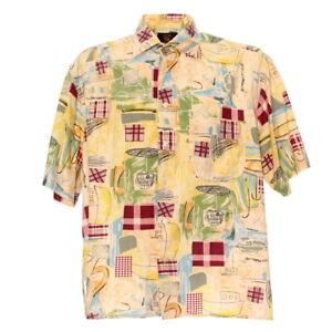 Kurzarmhemd-Groesse-L-Herren-Retro-Shirt-Kentkragen-Freizeit-Vintage-Muster-Hemd