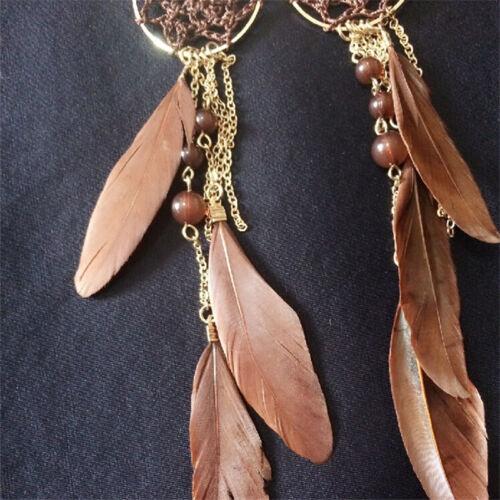 Perles de femme Bohème de mode plume dream catcher design oreilles