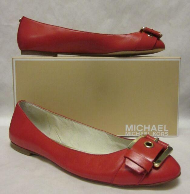 b69ce4f587 MK Michael Kors Calder Ballet Flats Rhubarb Red Leather Womens Shoes ...