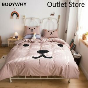 Washed Cotton Cute Duvet Cover Set Fitted Sheet 4Pcs Bedding Comforter Cover Set