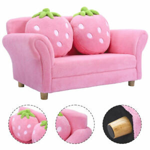 Kids Sofa Strawberry Armrest Chair Lounge Couch w/ 2 Pillow Child Toddler Pink