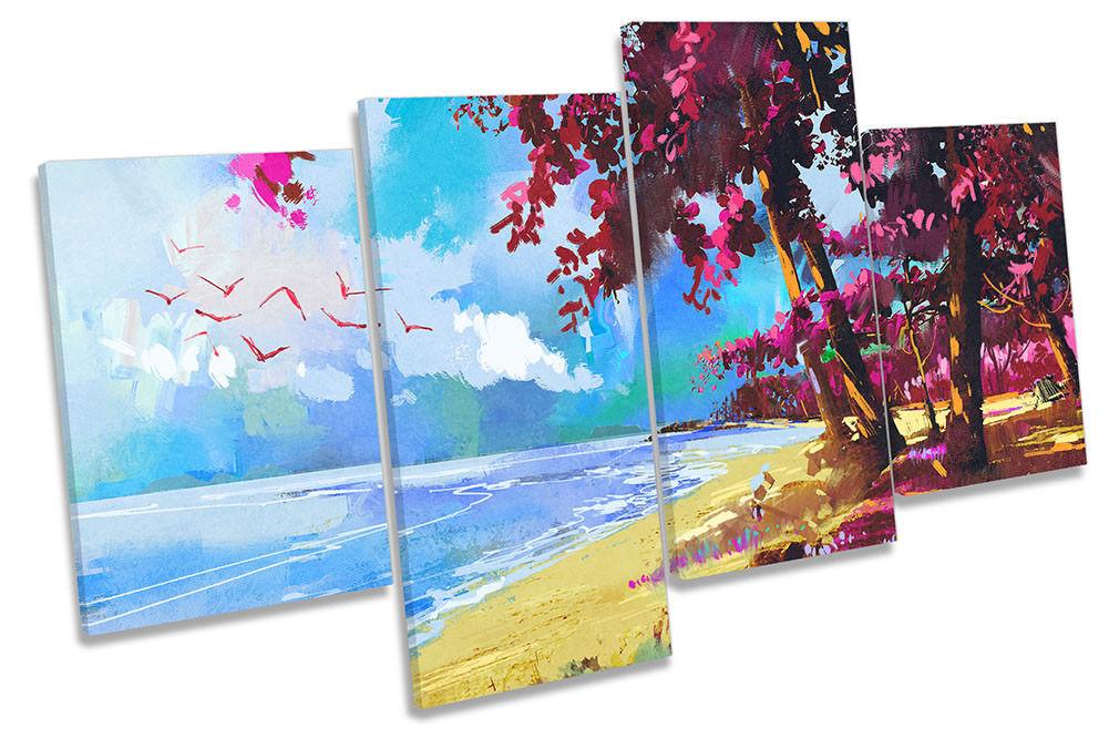 Beach rosa A A A FIORI PAESAGGIO incorniciato Multi stampa art. a muro e85eca