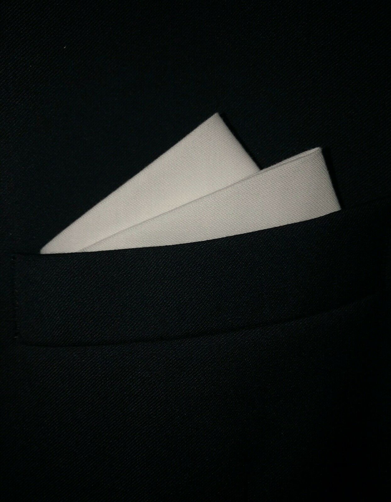 Pat Styles POCKET SQUARE White 2 point Wing Style - pre-folded & sewn - Slips in