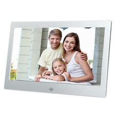 "10"" New Digital Photo Frame Metal Frame LED Picture Video Player Silver + Remote"