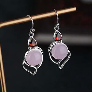 Opal-Stone-Garnet-Ruby-Chalcedony-Multi-Gemstone-Ear-Stud-Moonstone-Earrings